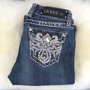 L.A. Idol Rhinestone Jeans W/23 L/34 Boot Cut